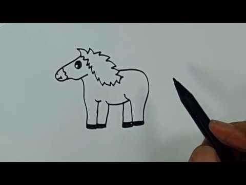 Belajar cara menggambar binatang kuda dengan mudah - YouTube
