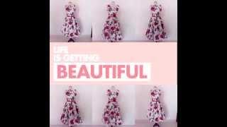 50's Audrey hepburn floral housewife dress Thumbnail