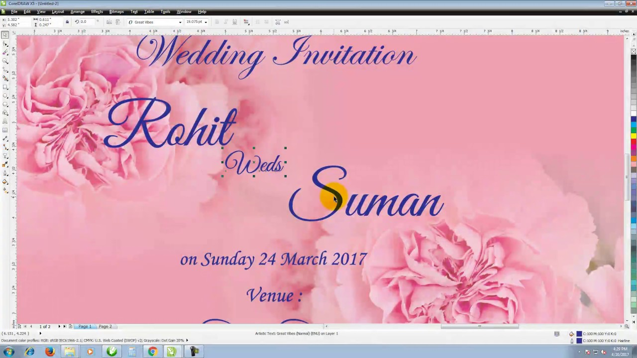 How To Start A Wedding Invitation: How To Make A Wedding Invitation In Corel Draw