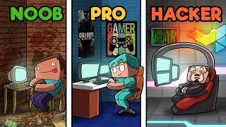 Minecraft - ULTIMATE HIDDEN GAMING ROOM! (NOOB vs PRO vs HACKER)