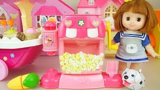 Baby doll Learn play house popcorn Ice cream shop play Baby Doli story