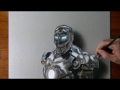 Drawing time lapse: Iron Man – hyperrealistic art