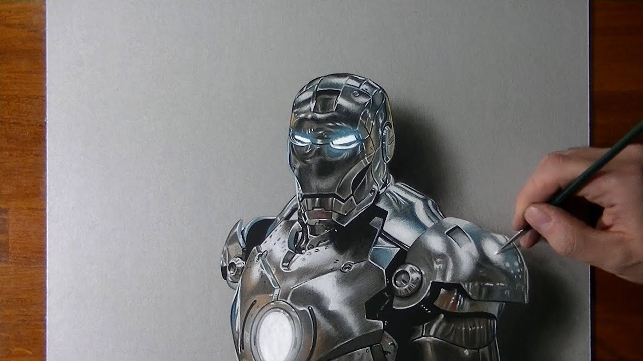 Drawing time lapse: Iron Man - hyperrealistic art - YouTube