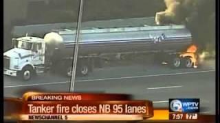 Fuel truck fire closes NB I-95 in Boynton Beach