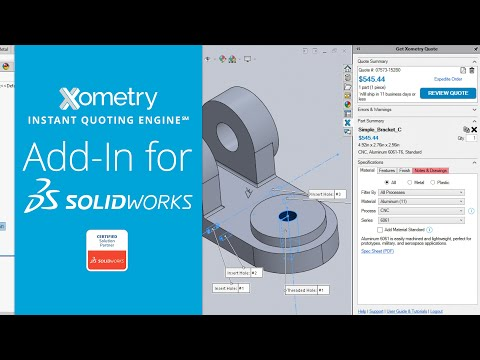 Xometry Instant Quoting Engine℠ Add-In for SOLIDWORKS