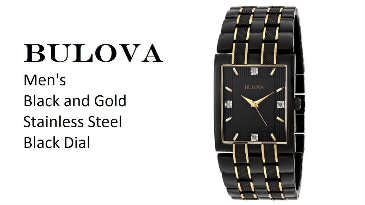 Bulova Men\'s Black and Gold Diamond Dial Watch - YouTube