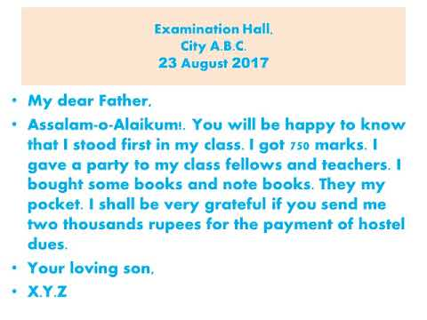 A letter to your father requesting him to send you some extra funds