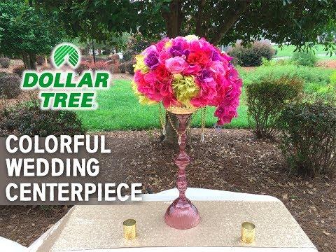 Dollar Tree DIY Bold Colorful Vase and Floral Centerpiece Arrangement - Wedding Series