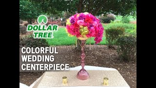 Dollar Tree DIY Bold Colorful Vase and Floral Centerpiece Arrangement - Wedding Series
