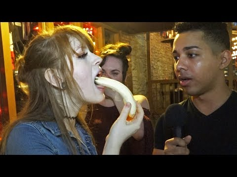 Girls Deepthroating a Banana for FAKE $100 Bills Prank
