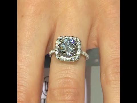 2 00 Ct Round Cut Diamond Engagement Ring In Cushion Halo Cathedral Band Youtube