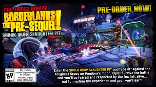 Borderlands The Presequel Shock Drop Slaughter Pit Pre-Order Bonus Official Release Teaser Trailer!