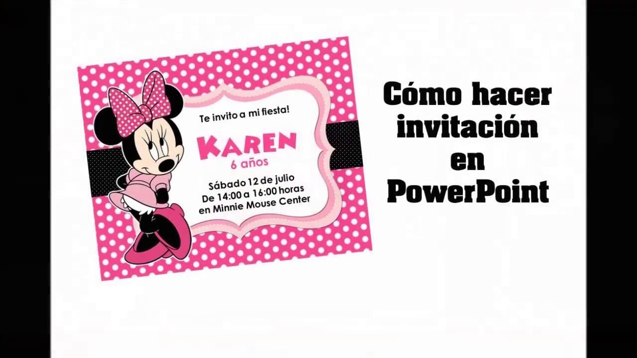 Cómo hacer invitación de Minnie Mouse en PowerPoint - YouTube