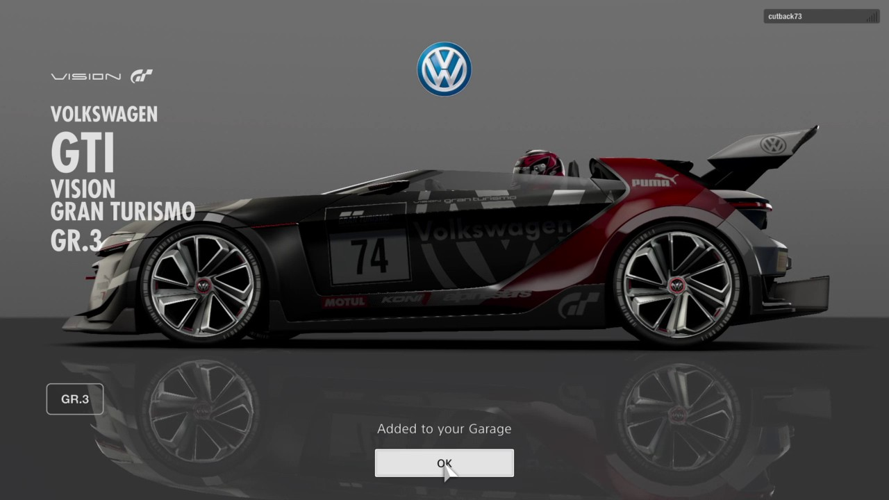 gran turismo sport closed beta test version award car volkswagen gti vision gran turismo gr3. Black Bedroom Furniture Sets. Home Design Ideas