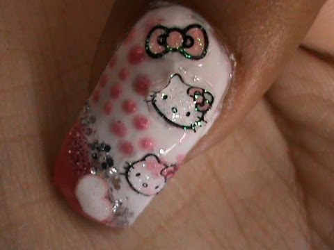 Hello Kitty Nail Polish Designs Sticker Youtube