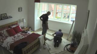How Wooden Shutters Are Installed On Square Or Box Bay Windows - Time Lapse Video