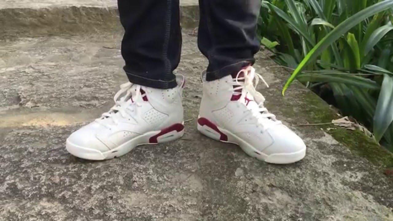 quality design a8af7 39257 Nike Air Jordan 6 Maroon 2016 Retro Sneaker Review -on feet