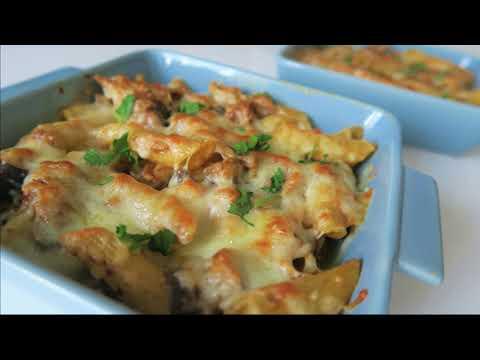 recette-199-:-gratin-de-pâtes-au-poulet-rôti,-aubergine-grillées-et-pesto-!!!