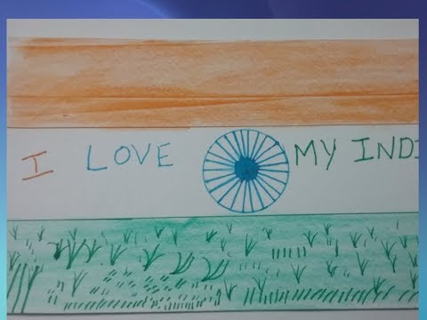 How to draw republic day India national flag ,Independence day drawing, I love Inida