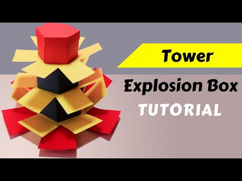 Hexagonal Tower Explosion Box Tutorial (Measurement included) Simple Easy step by step DIY Gift Idea