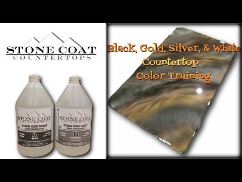 How to make  a black, gold, silver, & white counter top color training