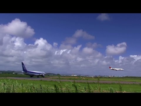 Japan's Beautiful summer sky and Sendai airplane takeoff and landing Videos