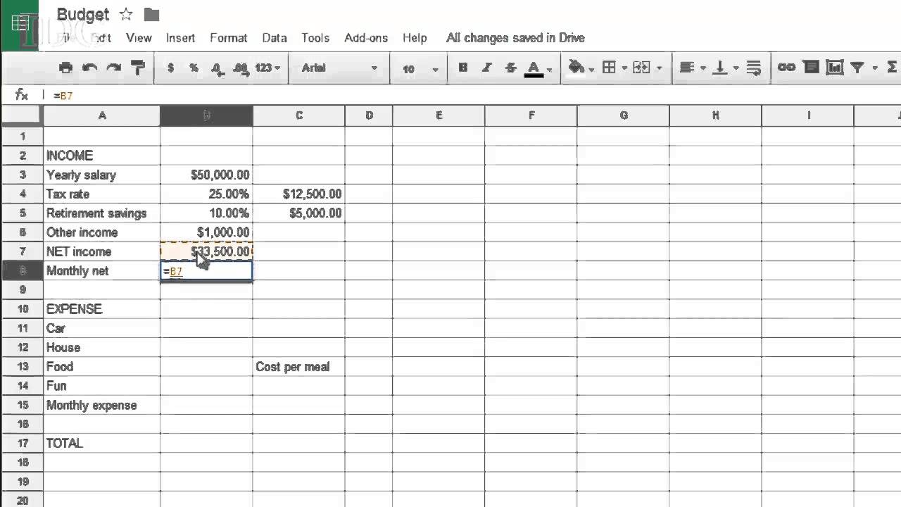 simple spreadsheet