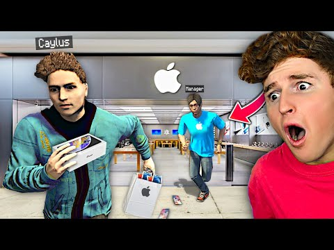 I Stole EVERY IPHONE From APPLE STORE In GTA 5 RP.. (FUNNY)