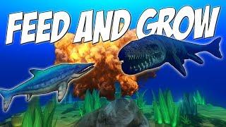 НУБ НАПАДАЕТ НА МОЗАЗАВРА, РЫБА ДИНОЗАВР    Feed and Grow: Fish