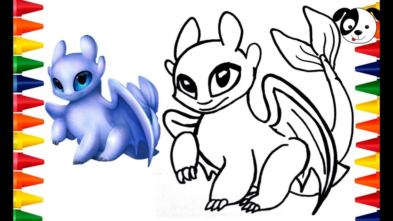 Drawingtoy Light Fury How To Train Your Dragon 3 To Color And