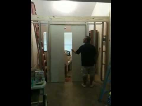 barn door pulleys double pocket doors close at the same time using a pulley system