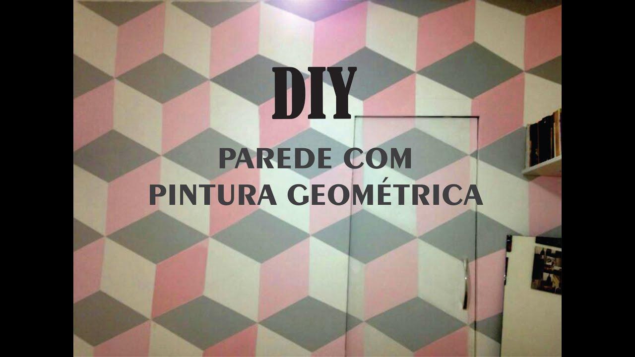 Diy parede com pintura geom trica gastando muito pouco - Formas de pintar paredes interiores ...