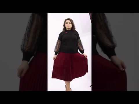Бордовая юбка гофре