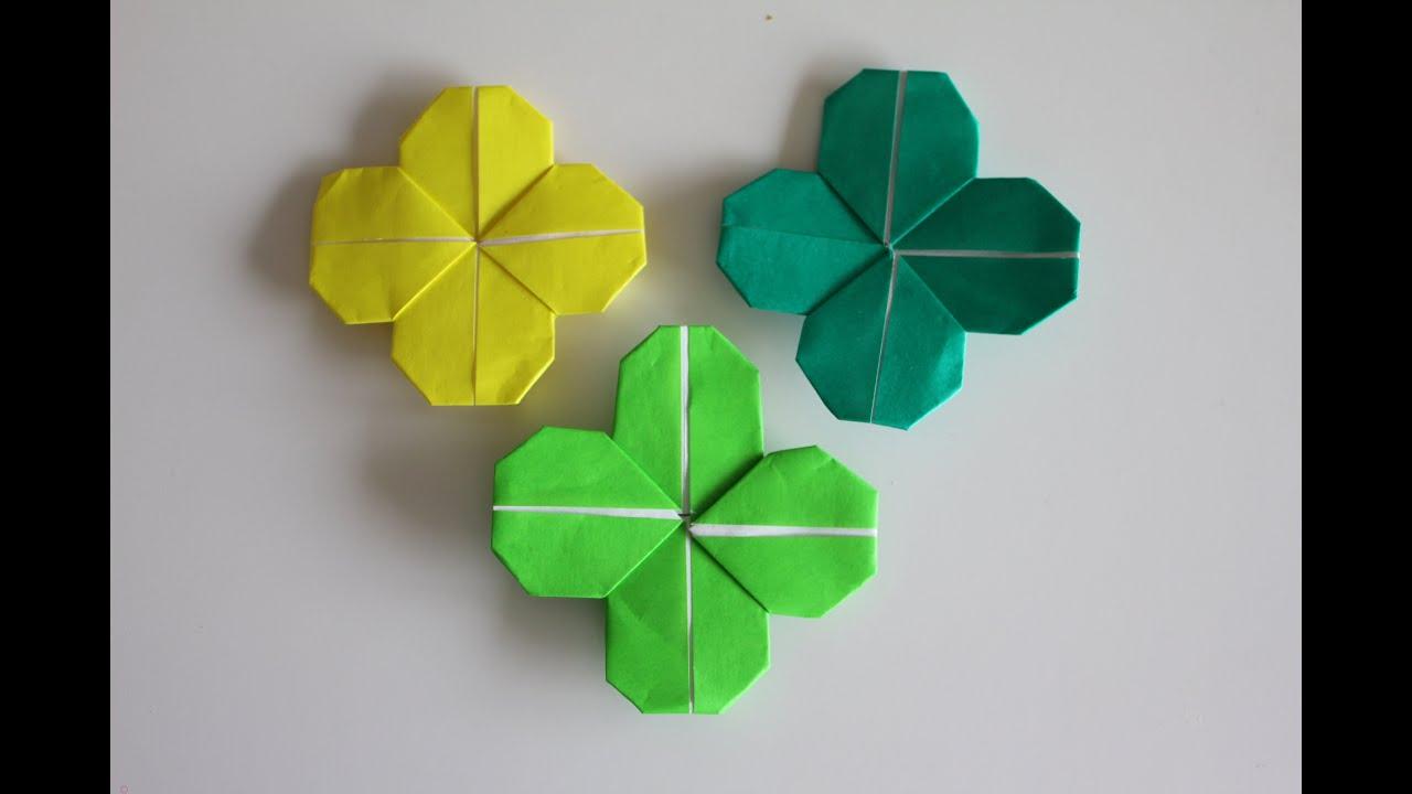 origami flower clover youtube