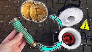 Kann ich aus ALTEN ROHRANSCHLÜSSEN Barren und BITCOIN Münzen herstellen? - 1450° Gas Schmelzofen