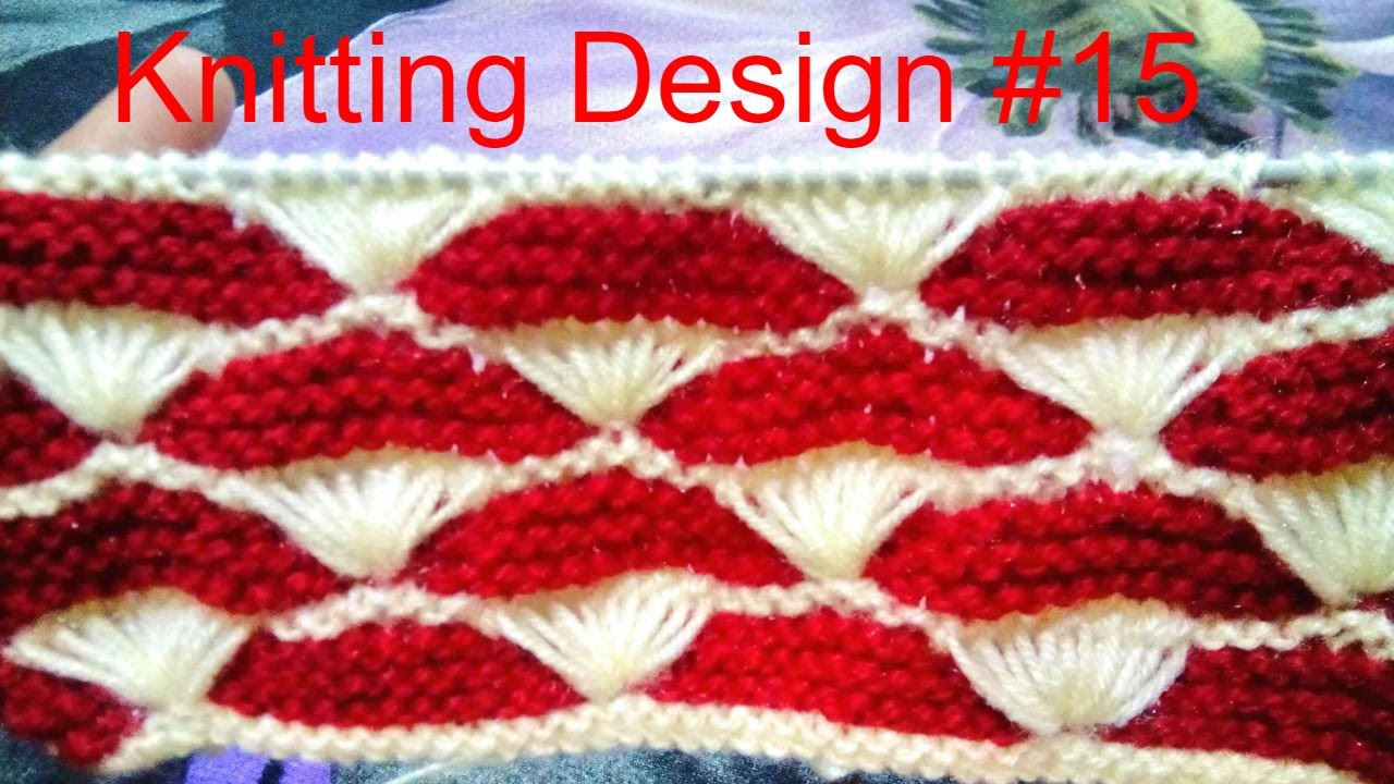 Knitting Design 15 Lotus Flower Double Colour Design Youtube
