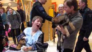 Police Puppy Elf Visits Wascana Rehab Centre In Regina.wmv