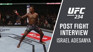 Israel Adesanya spoke with Megan Olivi after his huge win over Anderson Silva at UFC 234.  Subscribe to get all the latest UFC content: http://bit.ly/2uJRzRR  Experience UFC live with UFC FIGHT PASS, the digital subscription service of the UFC. To start your 7-day free trial, visit http://www.ufc.tv/packages  To order UFC Pay-Per-Views, visit http://www.ufc.tv/events   Connect with UFC online and on Social: Website: http://www.ufc.com Twitter: http://www.twitter.com/ufc Facebook: http://www.facebook.com/ufc Instagram: http://www.instagram.com/ufc Snapchat: UFC Periscope: http://Periscope.tv/ufc  Connect with UFC FIGHT PASS on Social: Twitter: http://www.twitter.com/ufcfightpass Facebook: http://www.facebook.com/ufcfightpass Instagram: http://www.instagram.com/ufcfightpass