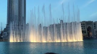 Dubai mall water fountain show daytime