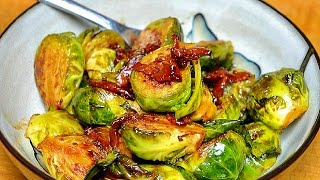 Brussel sprouts with Bacon in a balsamic glaze