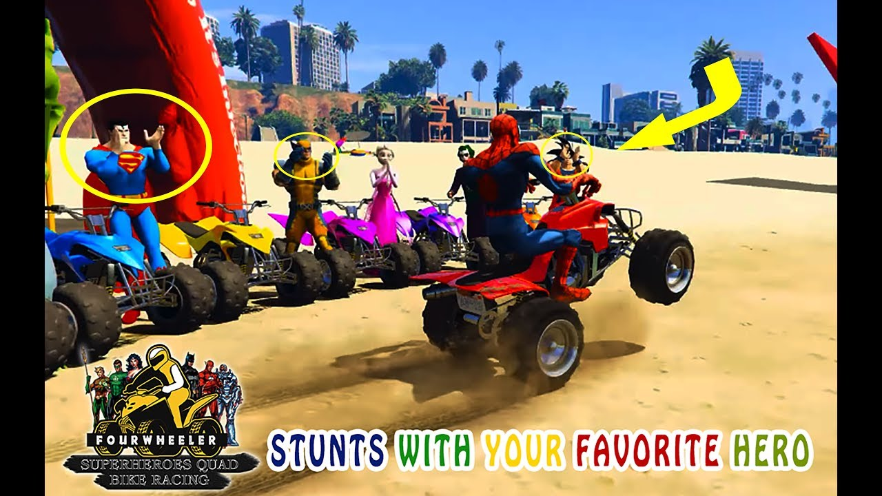 Learn Colors With Superheroes Superheroes Quad Bike Racing Videos