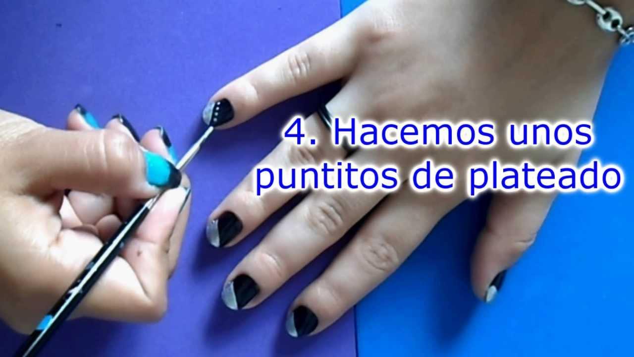 Decoraciones de u as negro con plateado yana nail art - Decoraciones de unas ...