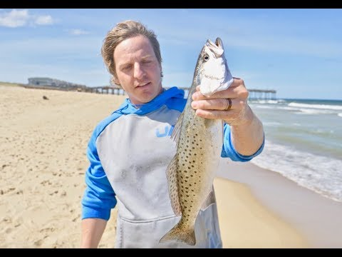 Outer Banks Beach Fishing For Speckled Trout Catch, Clean And Cook