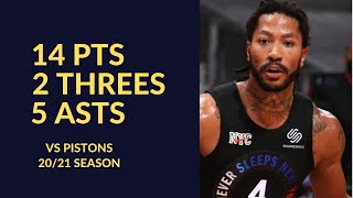 Derrick Rose 14 Pts 2 Threes 5 Asts 3 Rebs Highlights vs Detroit Pistons | NBA 20/21 Season