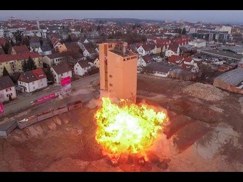 Sprengung des Silo-Turms auf dem ehemaligen BayWa-Areal in Ludwigsburg  - einmalige Luftaufnahmen!