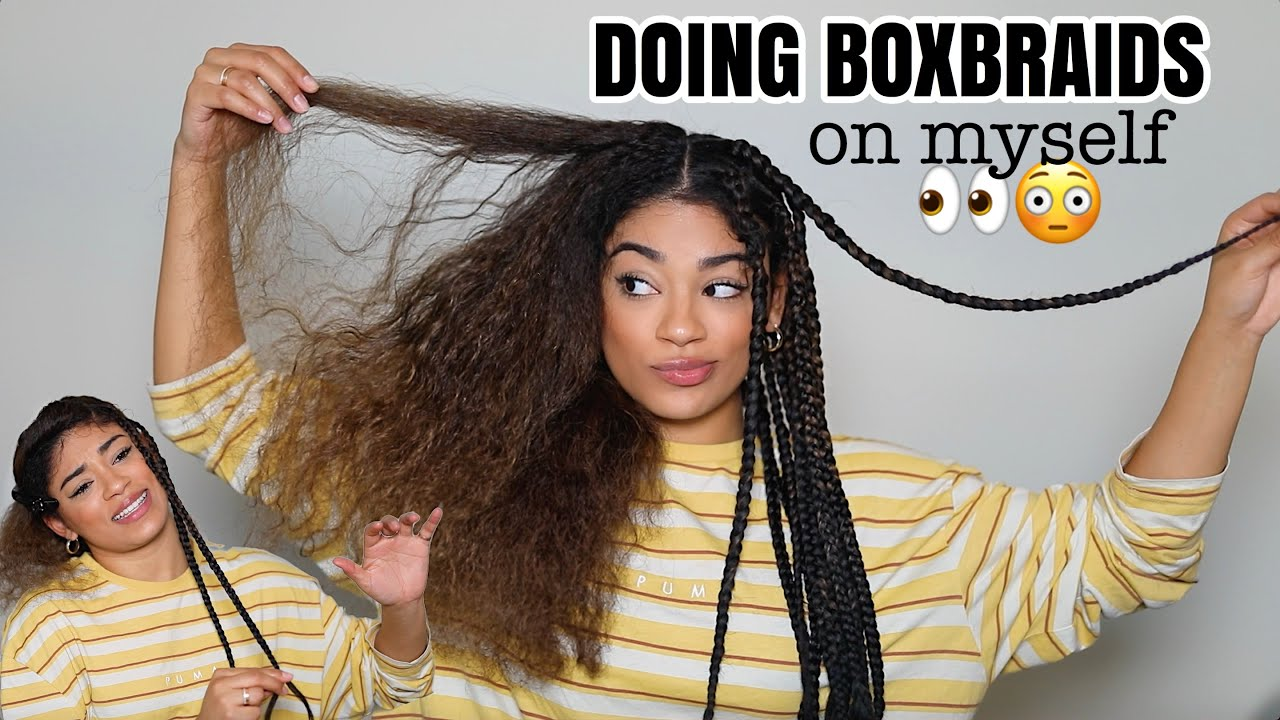 KNOTLESS FEED IN BOX BRAIDS ON MYSELF - How To | jasmeannnn