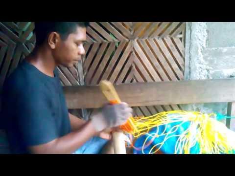 Cara merajut jaring gawang - Knitting goal net.