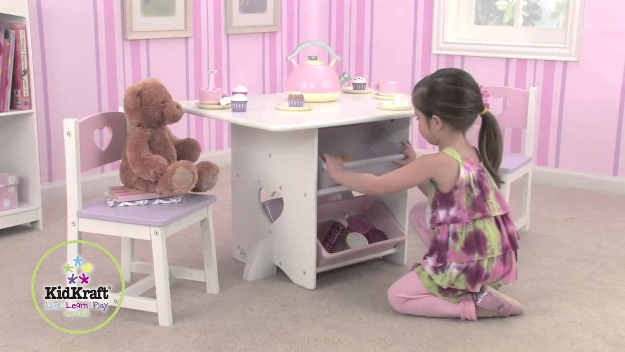 Table De Jeux Enfant Et Chaises Motif Coeur Kidkraft