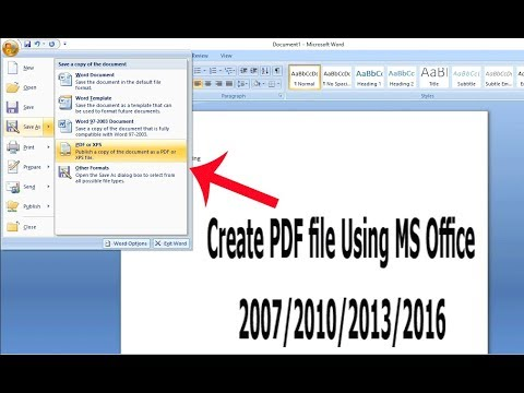 How To Create A PDF File Using Microsoft Office Word 2007/2010/2013/2016
