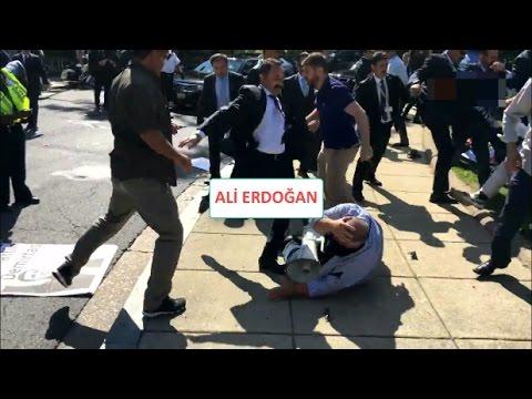 Reis'in korumaları ve Türkler PKKlılara Washington DC'de meydan dayağı attı